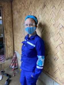 Project Zaccheus Community informal waste collector in uniform she helped to co-create.